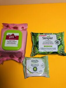 Yes Hydration facial wipes SimpleCompostable wipes, Simple Eye Make-up Remover