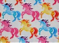 FAT QUARTER  SNUGGLE FLANNEL FABRIC RAINBOW UNICORNS  MAJESTIC HORSES UNICORN FQ