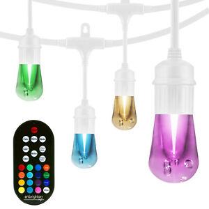 Enbrighten 12-Bulb 24 ft. Color Changing Cafe Integrated LED String Lights White