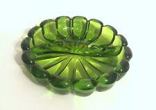 Green Glass Ashtray Catchall Heavy Retro Vintage