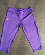 Under Amour Youth GIrls Purple Cropped Capri Size XL Fitted Pants Leggings