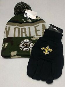 New Orleans  Black and Gold Grip Glove s & City Name  Camo  Pom Beanie Hat