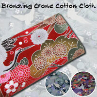 Cotton Crane Kimono Fabric Cloth Japanese Sakura Flower cheongsam Craft 17.7in