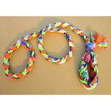 New listing Handmade Dog Leash Fleece and Paracord Slip-Lead Blue Tie-Die / Orange w Neon-Gr
