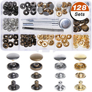 128Pcs Metal Snap Fastener Button Leather Tool Kit For Shirts Jeans Jackets USA