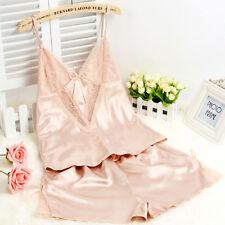 Set of Women Silk Satin Nightie Lingerie Sleepwear Pyjamas Shorts + Strappy Vest