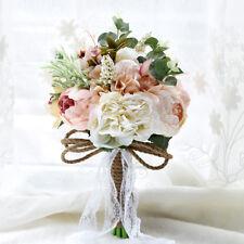 Wedding Flowers Bride Bouquet Outdoor Rustic Brooch Handmade White Pink