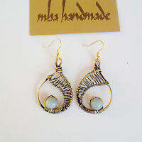 Natural Aquamarine Crystals Earrings Brass Wire Wrapped Vintage Artisan Jewelry
