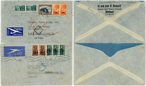 SOUTH WEST AFRICA 1946 TWO COVERS WAR ISSUES MULTIFRANKING Dentist Airmail Spink