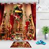 Christmas Wreath Party Decor Shower Curtain Set Bathroom Fabric Bath Curtains