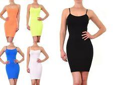 Women Nylon SEAMLESS CAMI Spaghetti Strap Soft Stretchy Fitted Slip Dress CM101