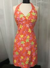 Lilly Pullitzer Orange Floral 100% Cotton Women's Lined Halter Dress Size 6
