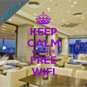 """decorative WALL STICKER """"Keep calm we have free wifi""""   available in 16 colours"""