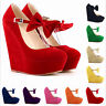 Womens High Platform Wedge Heel Pumps Classic Ankle Strap BowKnot Suede Shoes