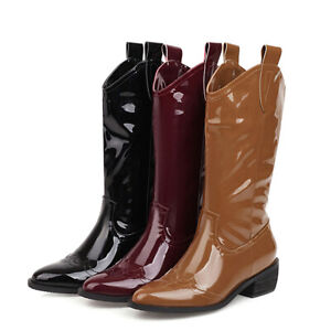Women's Western Boots Cowboy Pointed Toe Waterproof Square Heel Mid-Calf Booties