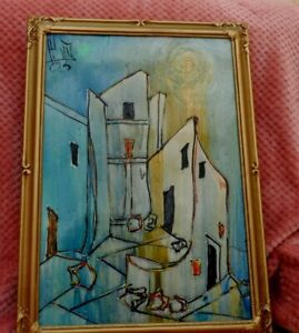 framed wall art acrylic painting  abstract  landscape  tall houses  signed HI