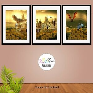Set of 3 Harry Potter Prints Magic Wand Wizard spells Picture Print ONLY A4 gift