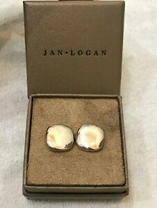 Jan Logan 925 Silver Cushion Square Cuff Link Cufflinks w box