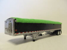 DCP 1/64 SCALE WILSON GRAIN TRAILER (HOPPER BOTTOM)  BLACK WITH LIME GREEN TARP
