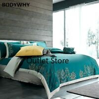Embroidery Bedding Set Brushed Cotton Thick Soft Duvet Cover Bed Sheet Set 4Pcs