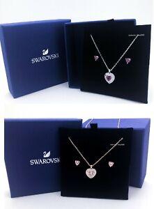 New SWAROVSKI Sparkling Pink, Red Crystal Heart Necklace Stud Earring Gift Set