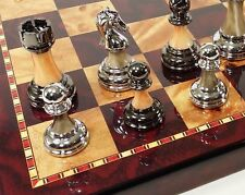 "Staunton Chrome & Black Pro Plastic Chess Men Set W 18"" Gloss Cherry Color Board"