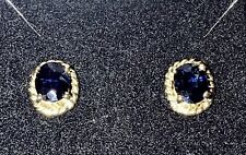 Natural Sapphire Stud Earing 14k Gold 4.7X5.7 MM