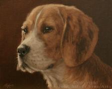 BEAGLE HOUND DOG PORTRAIT ORIGINAL OIL PAINTING by Master UK Artist JOHN SILVER