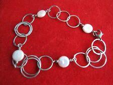 Bracelet Hoop'S .925 Sterling Silver Vintage Delicate Mother Of Pearl