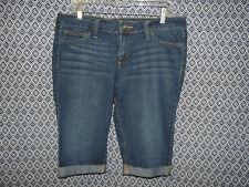 City Streets Women's Stretch Whiskers Denim Blue Jeans Bermudas Shorts~Size 15