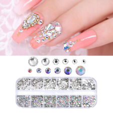 3D Glass Rhinestones AB Crystal Charm Gems DIY Manicure Nail Art Decorations-