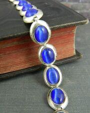 FAS Thailand Sterling Silver & Cobalt Blue Oval Link Bracelet