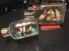 VINTAGE SHIP IN A BOTTLE Lot Of 2 BOTTLE ON WOOD STAND