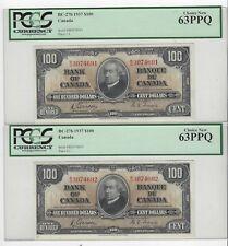 *1937*Can $100 Note BC-27b, PCGS MS-63 PPQ  Gor/Tow SN# BJ 3074691 & 92 Seq Pair