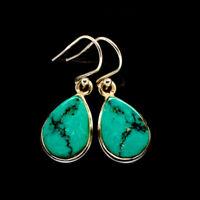 "Tibetan Turquoise 925 Sterling Silver Earrings 1 1/4"" Ana Co Jewelry E400773F"
