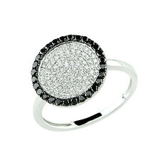 14K White Gold Pave Black Diamond Circle Disc Cocktail Statement Right Hand Ring