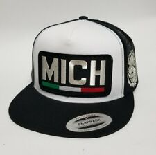 Michoacan Mexico Hat Mesh Trucker White Black Logo Mich Silver Metalic New