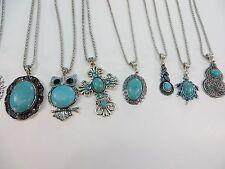 *US Seller*wholesale 20pcs vintage style turquoise gemstone pendant necklace