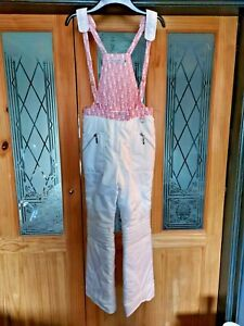 10A 10 GIRLS CHRISTIAN DIOR WHITE PINK FLEECE LINED SALOPETTES TROUSERS SNOW SKI