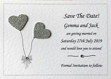10 Wedding Save The Date Cards - Personalised - Handmade - Many Heart Colours