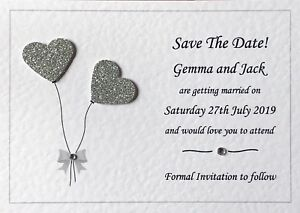 10 Personalised Wedding Save The Date Cards - Wedding Save The Evening Cards -