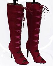 NEW Red Faux Suede Knee High Lace Up Open Front/Peep Toe Boots Size 6