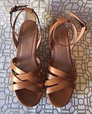 POUR LA VICTOIRE Saddle Brown Leather NOLETTA Platform Flatform Sandals Summer