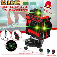 3D 12 Line Laser Level Self Leveling 360° Rotary Measure Cross Green/Blue Light