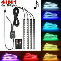 4*12LED Car Interior Footwall RGB Wireless Music Control 5V USB LED Strip Light