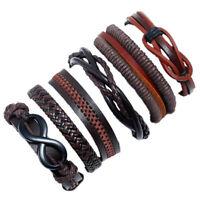 Fashion Men's Punk Handmade Multilayer Leather Bracelet Braided Bangle Wristband