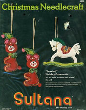 """Vintage """"BUNNIES AND HORSE"""" Jeweled Christmas Ornaments Felt Applique Kit NEW"""
