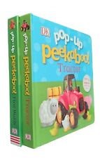Pop Up Peekaboo! 2 Board Books Toddler Baby First Words Tractor Lift Flap New