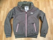 Hommes smith & jones à capuche veste zippée avec logo sur la poitrine gris taille l