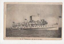 Steamship SS Toronto 1912 Postcard 597a